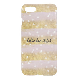 Coque iPhone 8/7 Or et confettis de Bokeh de rayures de rose