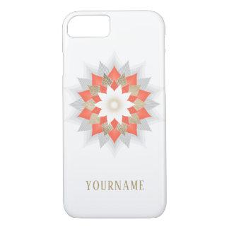 Coque iPhone 8/7 Or et mandala orange de fleur de Lotus élégants