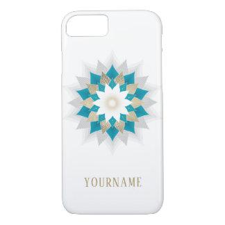 Coque iPhone 8/7 Or et mandala turquoise de fleur de Lotus élégants