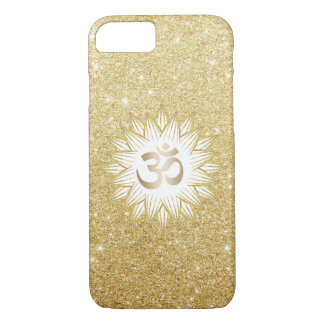 Coque iPhone 8/7 Or Lotus et scintillement d'or de symbole de l'OM