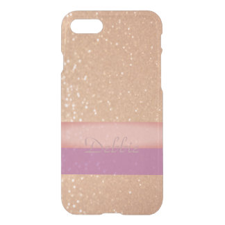 Coque iPhone 8/7 Or scintillant avec un contact de rose et de