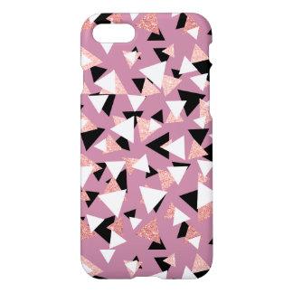 Coque iPhone 8/7 Parties scintillantes roses d'or de triangles