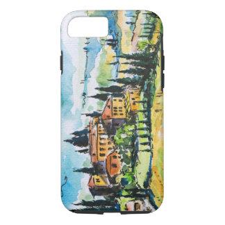 Coque iPhone 8/7 Paysage avec des arbres de ville et de cyprès