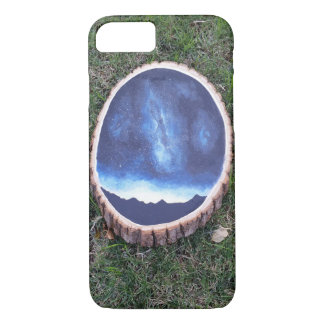 Coque iPhone 8/7 peinture de galaxie sur le cas en bois de