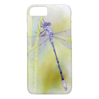 Coque iPhone 8/7 Peinture pourpre d'aquarelle de libellule