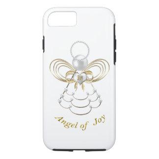 Coque iPhone 8/7 Perles et or - ange métallique de Noël de joie