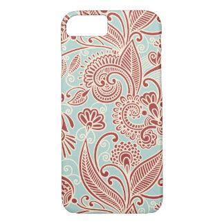 Coque iPhone 8/7 Persan oriental Paisley, remous - bleu rouge