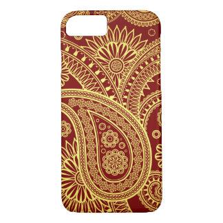 Coque iPhone 8/7 Persan Paisley, motif oriental - jaune rouge