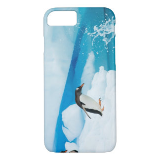 Coque iPhone 8/7 pingouin de gentoo, Pygoscelis Papouasie, sautant