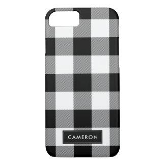 Coque iPhone 8/7 Plaid de contrôle de Buffalo blanc et noir - cas