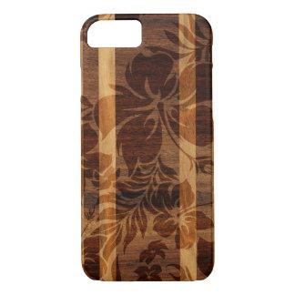Coque iPhone 8/7 Planche de surf en bois de Faux de plage de Keokea