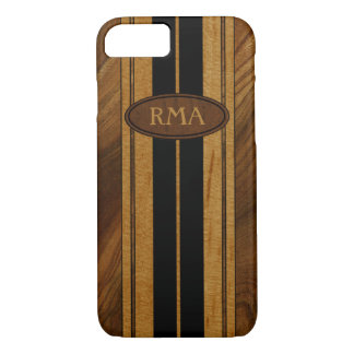Coque iPhone 8/7 Planche de surf en bois de monogramme de Koa de