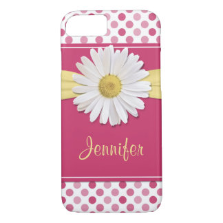 Coque iPhone 8/7 Point de polka de rose de marguerite de Shasta