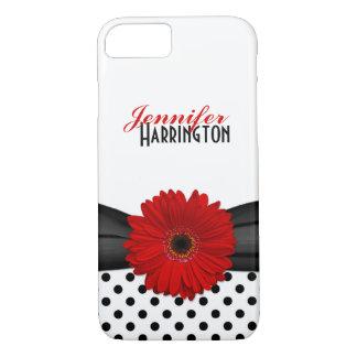 Coque iPhone 8/7 Point de polka rouge chic de marguerite de Gerbera