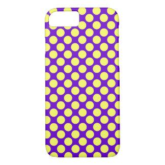Coque iPhone 8/7 Pois jaune avec l'arrière - plan pourpre STaylor