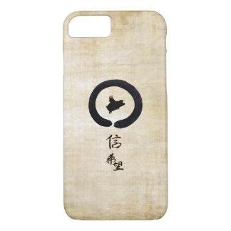 Coque iPhone 8/7 Porc-Espoir et foi de vol dans la calligraphie