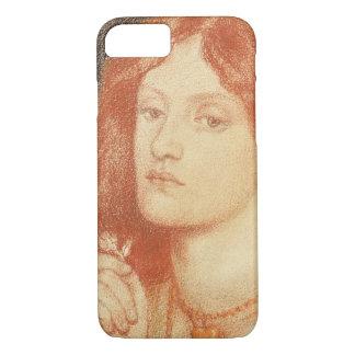 Coque iPhone 8/7 Portrait d'Elizabeth Siddal (1834-62), 1860 (rouge
