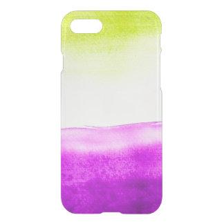 Coque iPhone 8/7 Pourpre vert au néon d'aquarelle de hippie clair