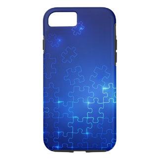 Coque iPhone 8/7 Puzzle bleu rougeoyant de cas de l'iPhone 7 de