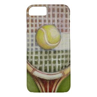 Coque iPhone 8/7 Raquette de tennis avec la boule s'étendant sur la