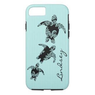 Coque iPhone 8/7 Rayure d'Aqua de tortues de mer avec le nom