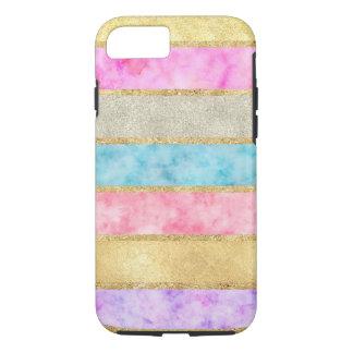 Coque iPhone 8/7 Rayures d'aquarelle de tape-à-l'oeil d'or