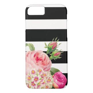 Coque iPhone 8/7 Rayures réglables de PixDezines/roses vintages
