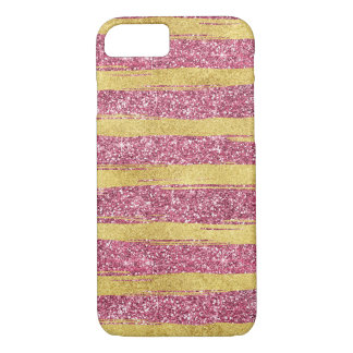 Coque iPhone 8/7 Rayures scintillantes de Faux rose d'or