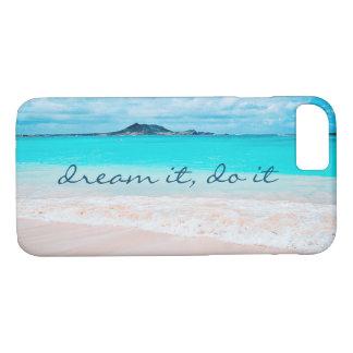 """Coque iPhone 8/7 """"Rêvez-le, faites-le"""" photo d'océan bleu et de"""