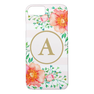 Coque iPhone 8/7 Rose floral vintage et blanc de monogramme d'or