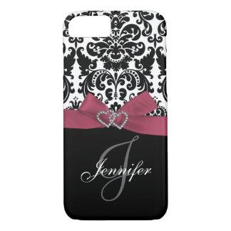 Coque iPhone 8/7 Rose personnalisé, motif fleuri noir de damassé
