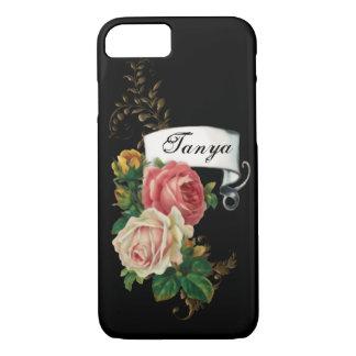 Coque iPhone 8/7 Roses élégants et feuille d'or personnalisé