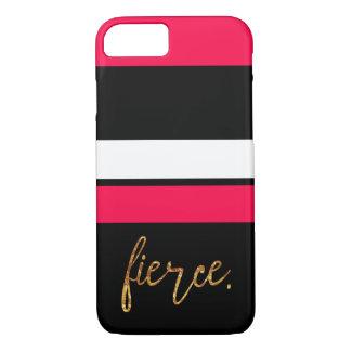 """Coque iPhone 8/7 Roses indien """"féroces"""" et caisse rayée noire"""