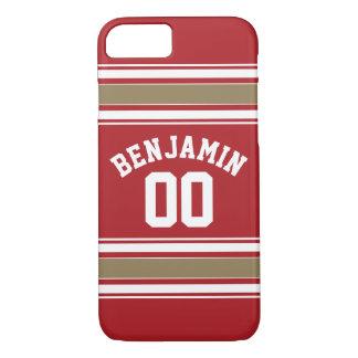 Coque iPhone 8/7 Rouge du Jersey de sports et nombre nommé de