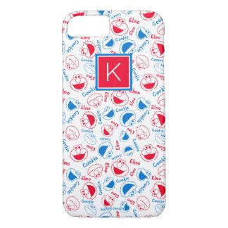 Coque iPhone 8/7 Rouge et monogramme bleu du motif |