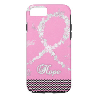 Coque iPhone 8/7 Ruban floral rose iPhone7 de conscience de cancer