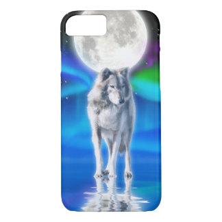 Coque iPhone 8/7 Scène arctique de faune de loup blanc et d'aurore
