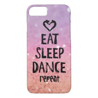 Coque iPhone 8/7 Scintillant mangez, dormez, dansez le cas