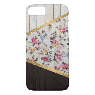 Coque iPhone 8/7 Scintillement floral d'or de roses vintages girly