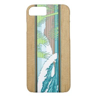 Coque iPhone 8/7 Signe en bois de surf de Koa de Faux hawaïen de