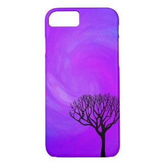 Coque iPhone 8/7 Silhouette d'arbre (lumières du nord)