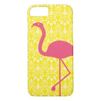 Coque iPhone 8/7 Silhouette rose de flamant sur le jaune
