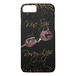 Coque iPhone 8/7 Sips de vin et lèvres 2 de Rosey - poussiéreuses