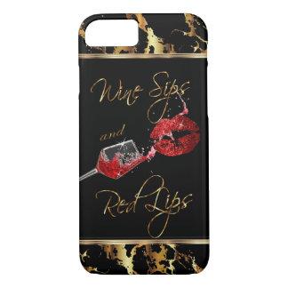 Coque iPhone 8/7 Sips de vin et lèvres rouges