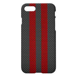 Coque iPhone 8/7 Style rouge de fibre de carbone de Bourgogne