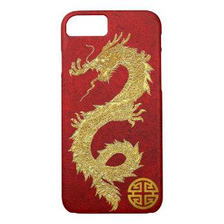 Coque iPhone 8/7 Symbole chinois de prospérité de dragon d'or