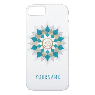 Coque iPhone 8/7 Symbole Teal de l'OM de yoga et mandala de fleur