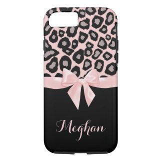 Coque iPhone 8/7 Taches et arc roses de léopard
