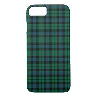 Coque iPhone 8/7 Tartan de vert de clan de MacKay, bleu et noir