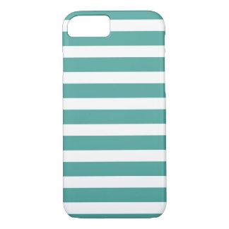 Coque iPhone 8/7 Teal et caisse rayée blanche de téléphone